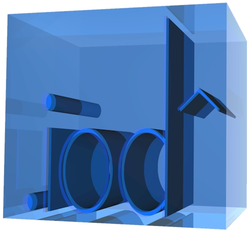 3D Text in a Blue Glass with Internal Reflections